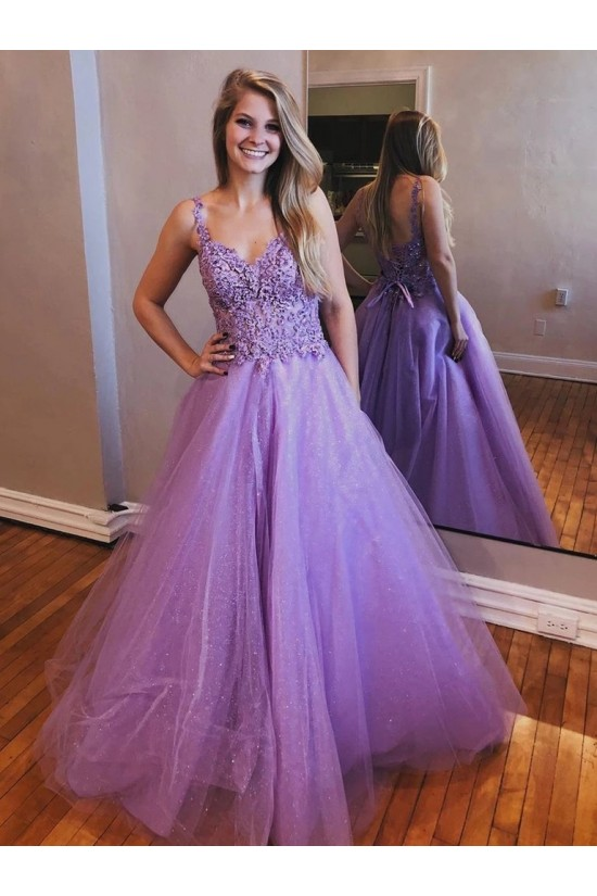 A-Line Beaded Lace Tulle Long Prom Dresses Formal Evening Gowns 6011108