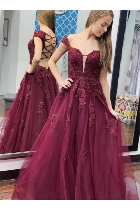 A-Line Lace Off-the-Shoulder Long Prom Dresses Formal Evening Gowns 601828