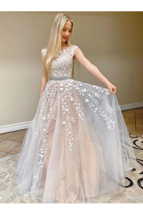 A-Line Beaded Lace Long Prom Dresses Formal Evening Gowns 601893