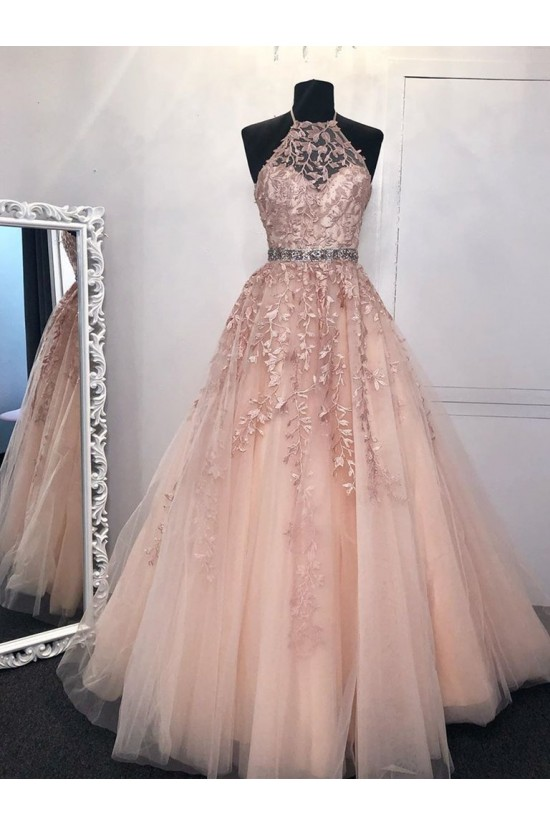A-Line Beaded Lace Long Prom Dresses Formal Evening Gowns 601998