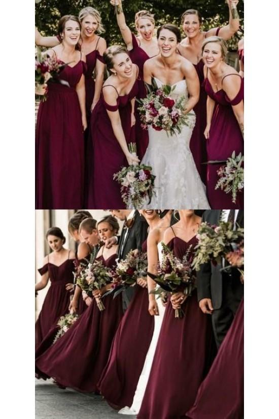 A-Line Simple Spaghetti Straps Long Bridesmaid Dresses 3010312