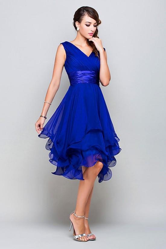 A-Line Princess V-Neck Short Royal Blue Chiffon Prom Bridesmaid Party Dresses ED010372