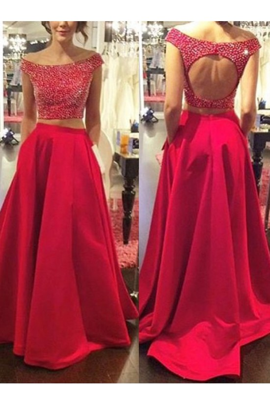 Two Pieces Off-the-Shoulder Red Beaded Long Prom Evening Formal Dresses 3020175