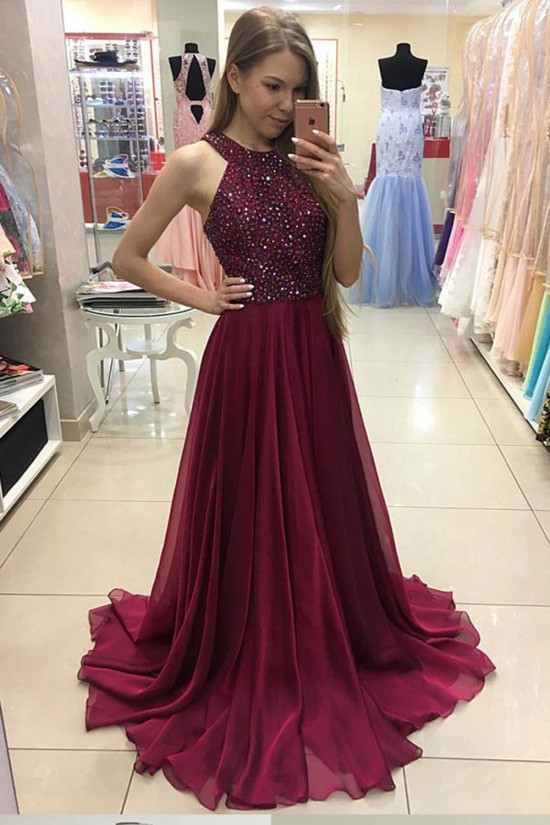 A-Line Burgundy Beaded Chiffon Prom Dresses Party Evening Gowns 3020244