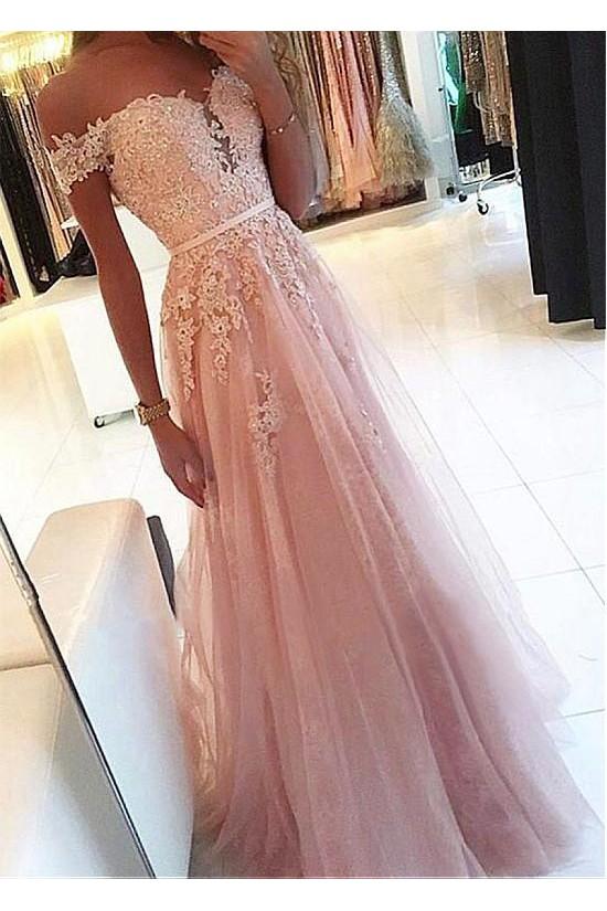 A-Line Lace Tulle Off-the-Shoulder Long Prom Dresses Formal Evening Dresses 601232