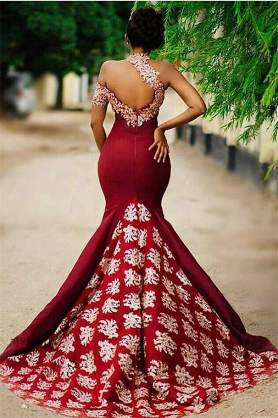 Mermaid Lace Appliques Long Prom Dress Formal Evening Dresses 601460