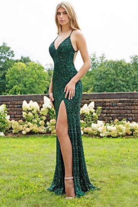 Mermaid V-Neck Sparkling Long Prom Dress Formal Evening Dresses 601545