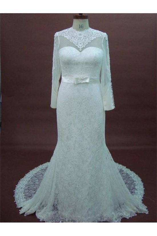 Trumpet/Mermaid Long Sleeves Chapel Train Lace Bridal Wedding Dresses WD010072