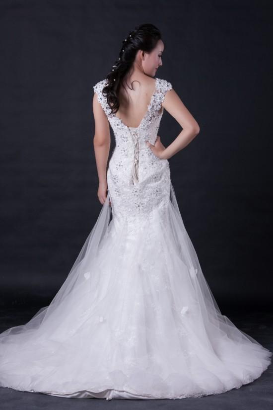 Trumpet/Mermaid Beaded Lace Bridal Wedding Dresses WD010396