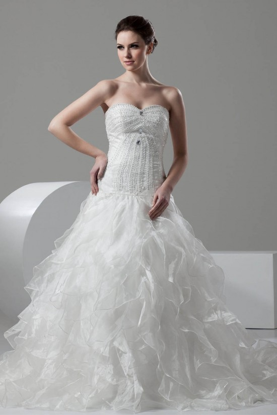 Ball Gown Sleeveless Satin Organza Sweetheart Embellished Wedding Dresses 2030608