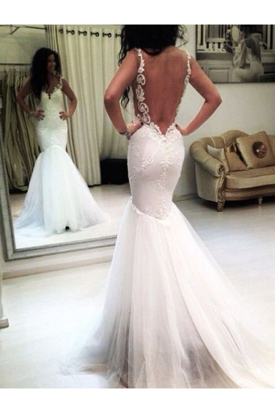 Mermaid Lace Backless V-Neck Wedding Dresses Bridal Gowns 3030069